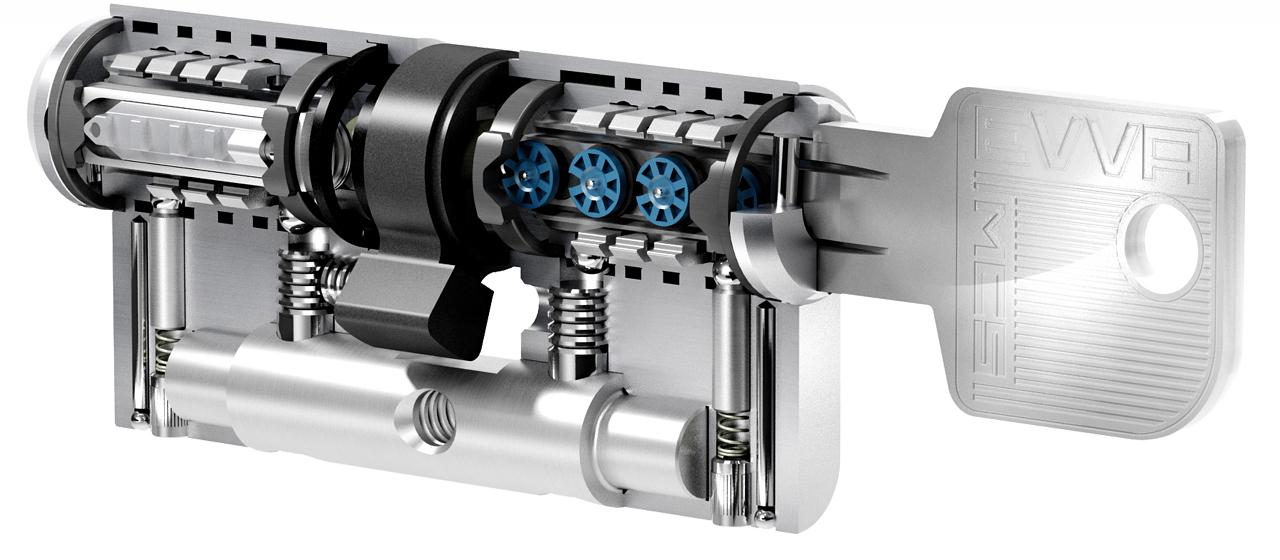 Цилиндр EVVA MCS ключ/ключ, пять ключей